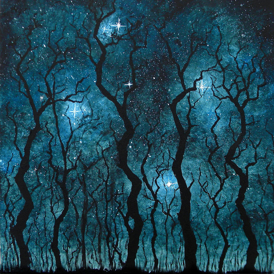 Tree Painting - Winters Night by Sabrina Zbasnik