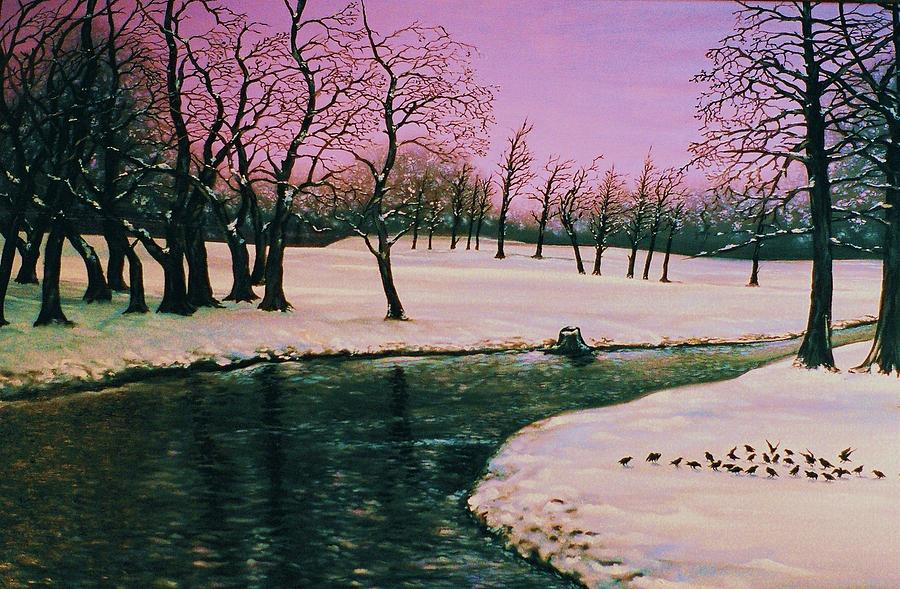 Winter Landscape Painting - Winters Rite by Terry Jackson