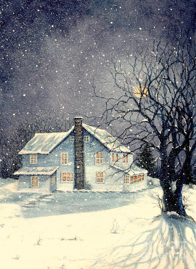 Old Painting - Winters Silent Night by Janine Riley