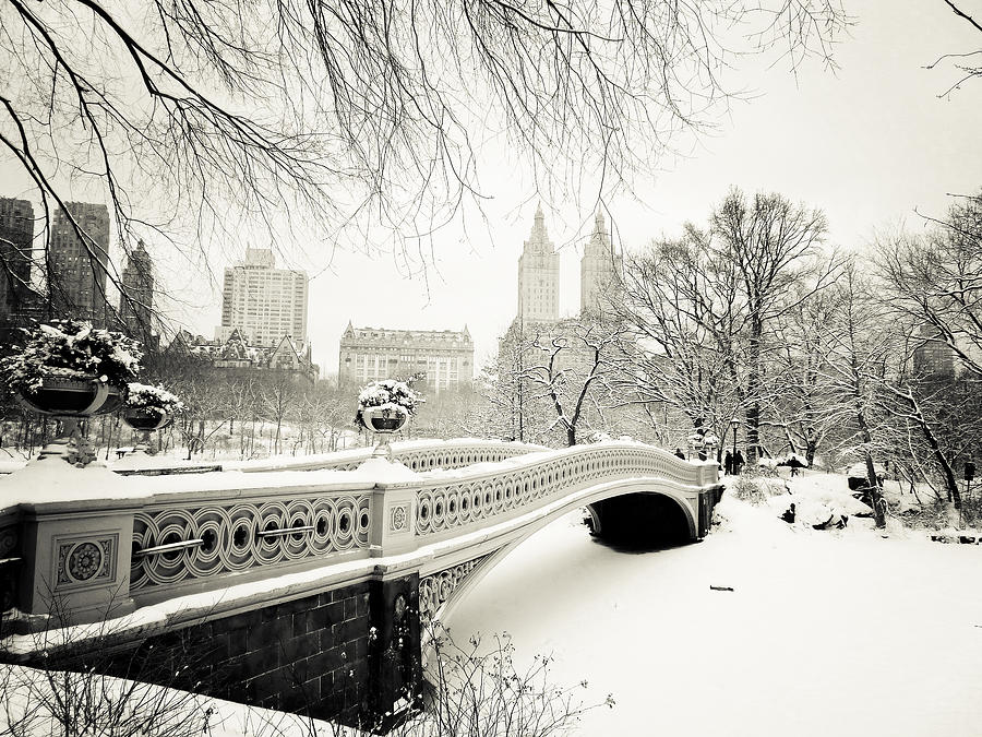 New York City Photograph - Winters Touch - Bow Bridge - Central Park - New York City by Vivienne Gucwa