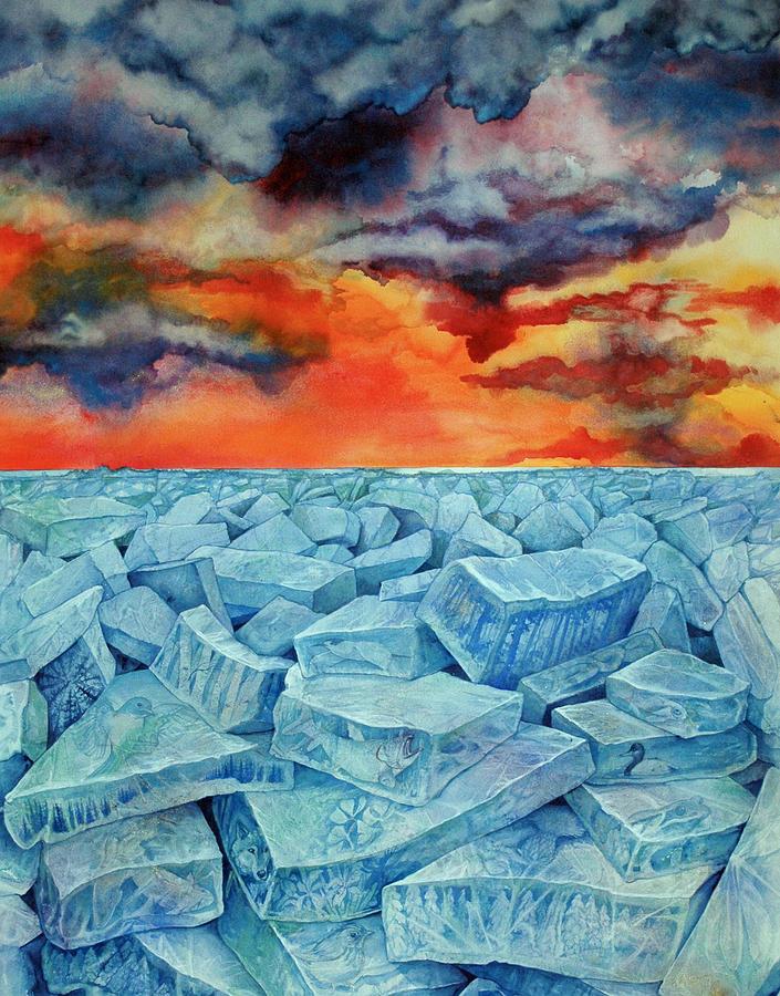 Ice Painting - Winters Warning by Helen Klebesadel