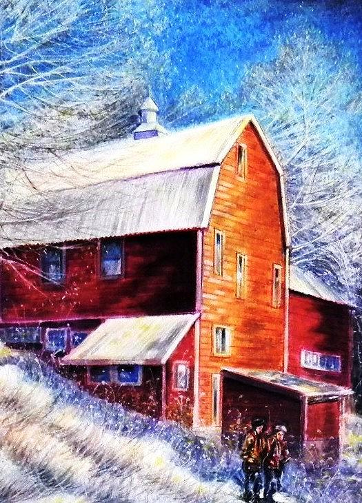 Winter Snow Scene Painting - Winterscape by Raffi Jacobian