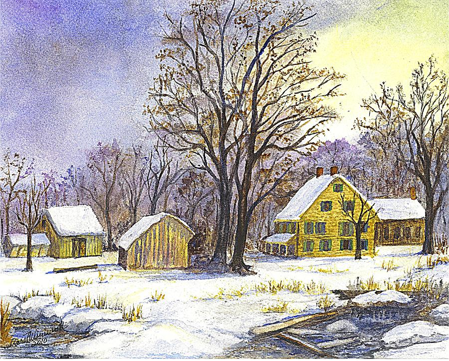 Christmas Cards Painting - Wintertime In The Country by Carol Wisniewski