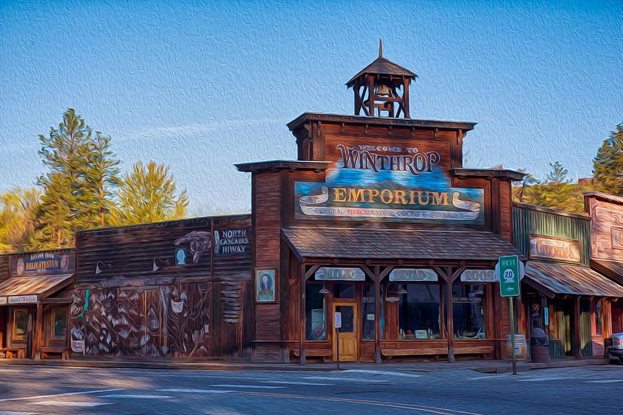 North Cascades Painting - Winthrop Emporium by Omaste Witkowski
