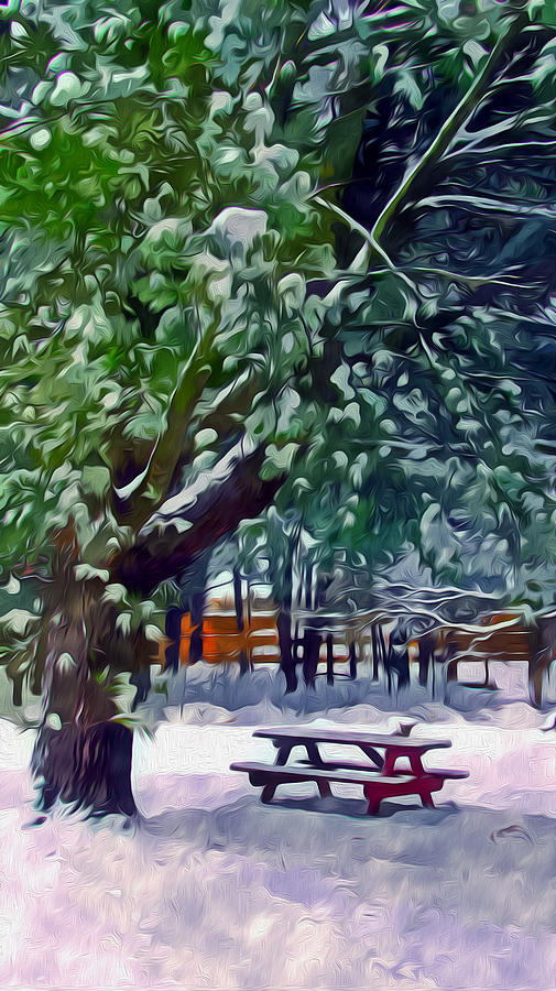 Background Painting - Wintry  Snowy Trees by Lanjee Chee