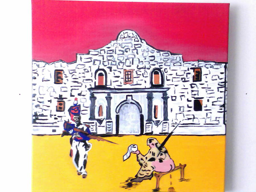Wipe Out At The Alamo Painting