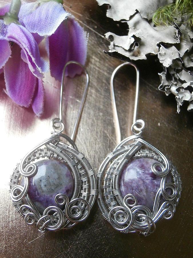 Wire Wrapped Earrings Purple Charoite Gemstone Beads Handmade Wire ...