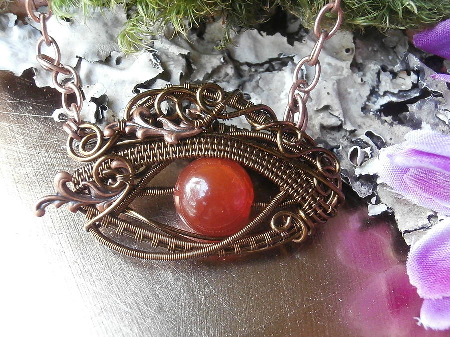 Wire Wrapped Lucky Eye Pendant Necklace Orange Crackle Glass In ...