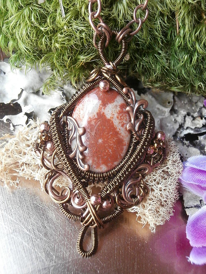 Wire Wrapped Pendant Necklace Fossil Coral In Copper Handmade Wire ...