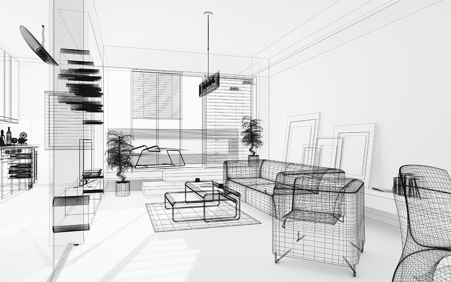 Wireframe 3d Modern Interior. Blueprint. Render Image. Architecture Abstract. Photograph by PetrePlesea