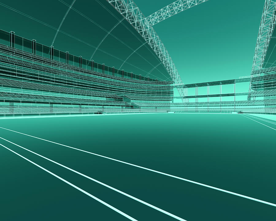 Wireframe Sports Stadium Digital Art by Mmdi