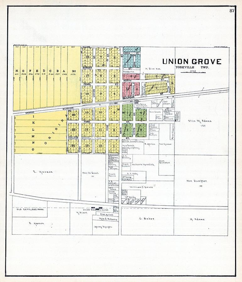 Wisconsin, 1908, Union Grove, Racine, Kenosha County by Historic Map on grand chute map, superior map, fond du lac zip code map, norman map, lafayette map, wilmot map, peoria map, st francis map, woodstock map, sheboygan map, fennimore map, oconomowoc map, wausau map, schererville map, prairie crossing map, waukesha map, door map, city of racine map, racine wisconsin map, greensboro map,