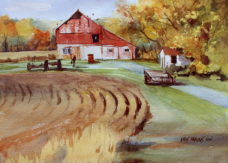 Watercolor Painting - Wisconsin Barn by Kris Parins