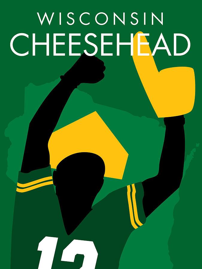 Green Digital Art - Wisconsin Cheesehead by Geoff Strehlow