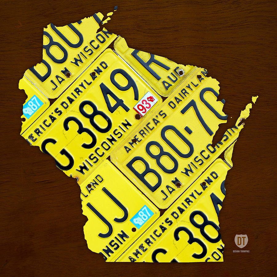 Map Mixed Media - Wisconsin License Plate Map By Design Turnpike by Design Turnpike
