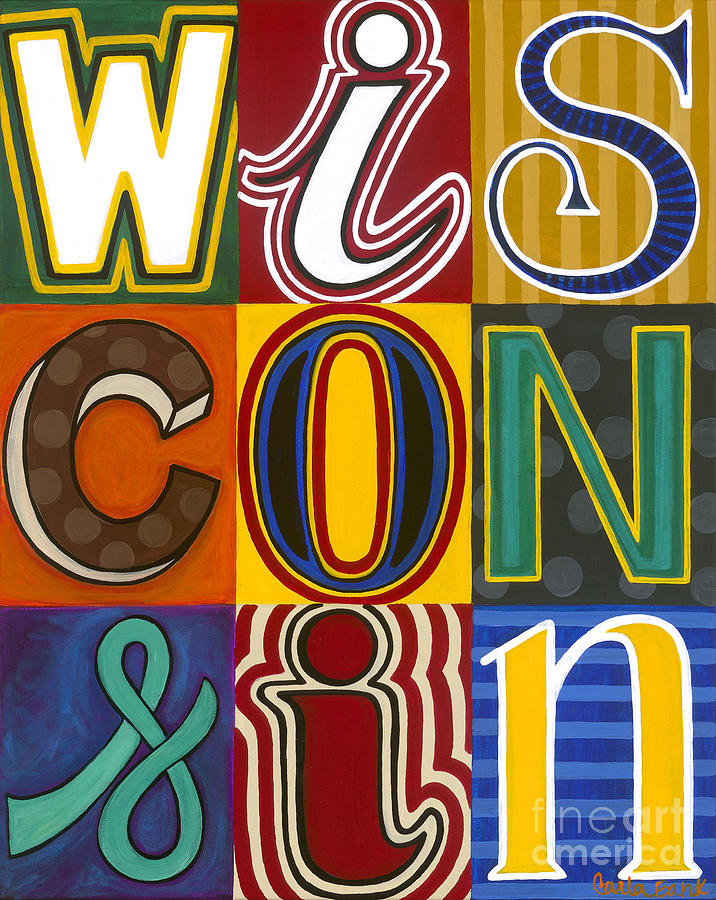 Wisconsin Painting - Wisconsin Pop Art by Carla Bank