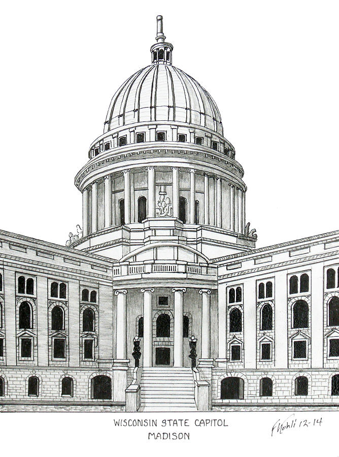 Wisconsin State Capitol Drawing by Frederic Kohli