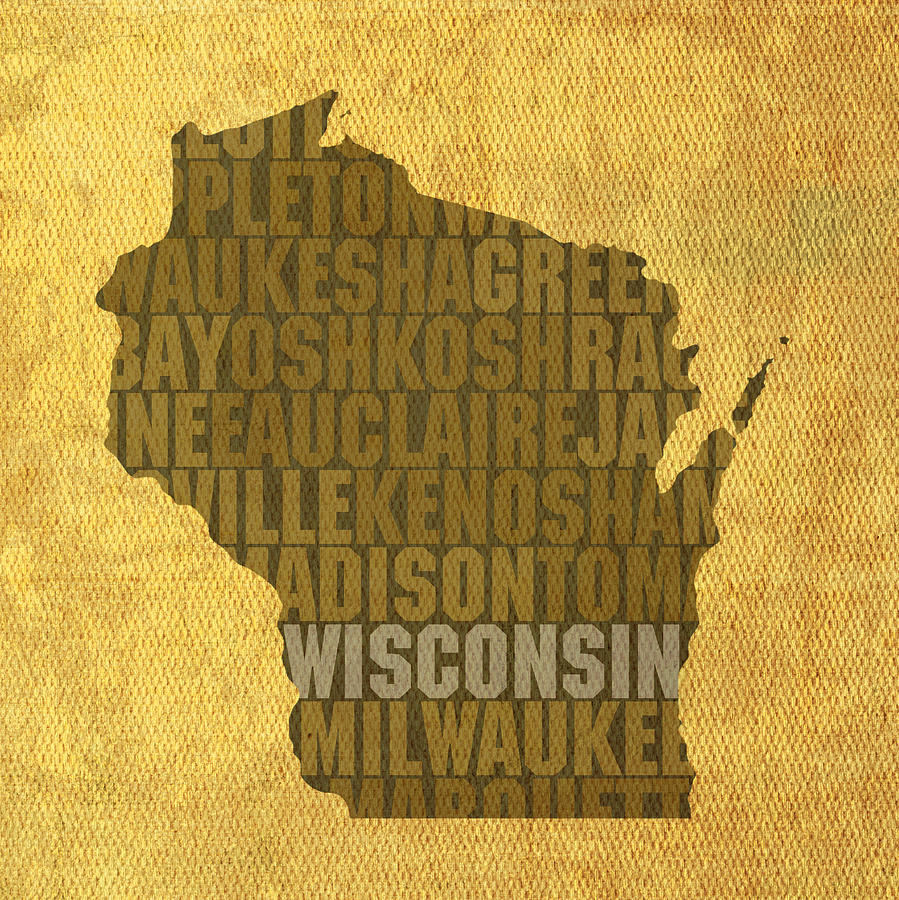 Wisconsin Word Art State Map On Canvas Mixed Media by Design Turnpike