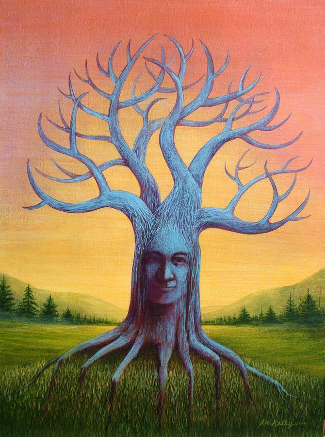 Wisdom Tree Painting by J W Kelly