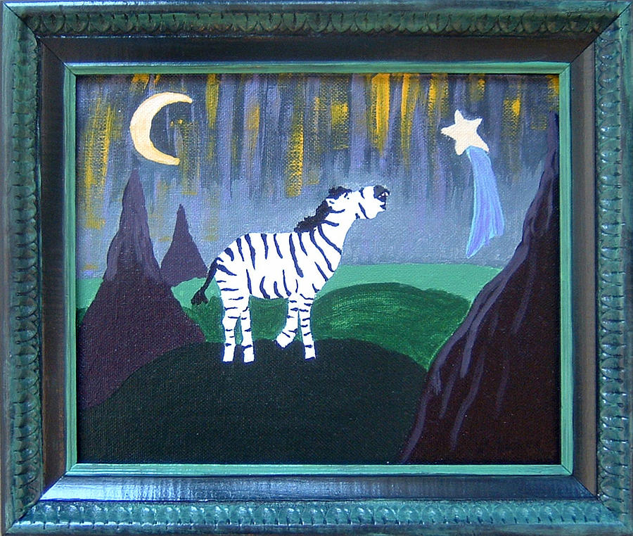 Zebra Painting - Wish Upon A Star by Yvonne  Kroupa