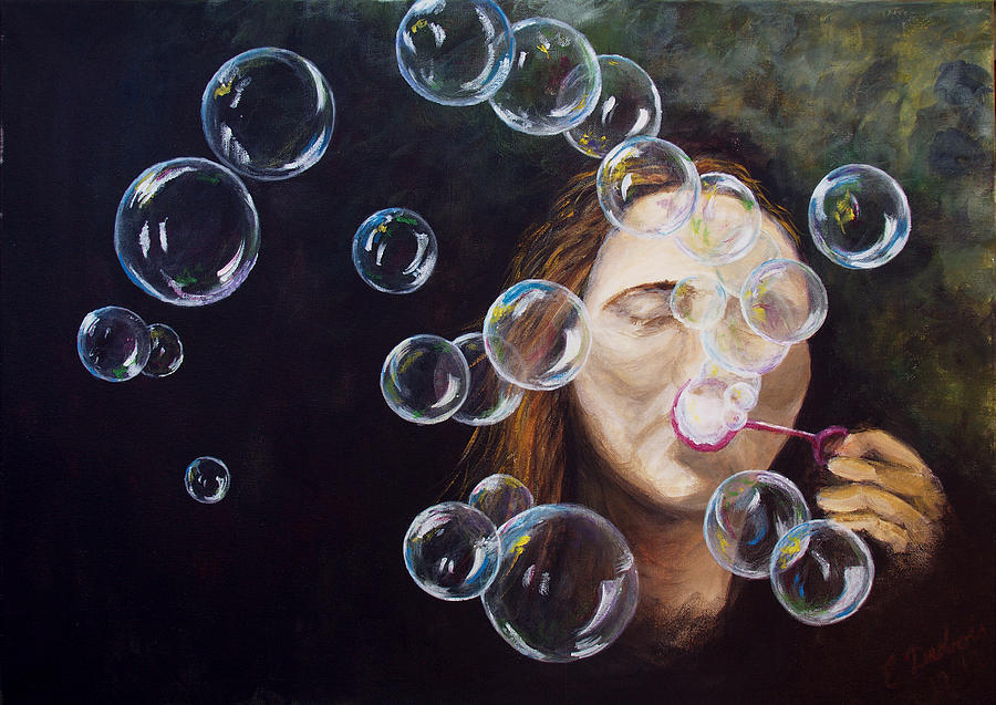 wishing bubbles painting by elisabeth dubois