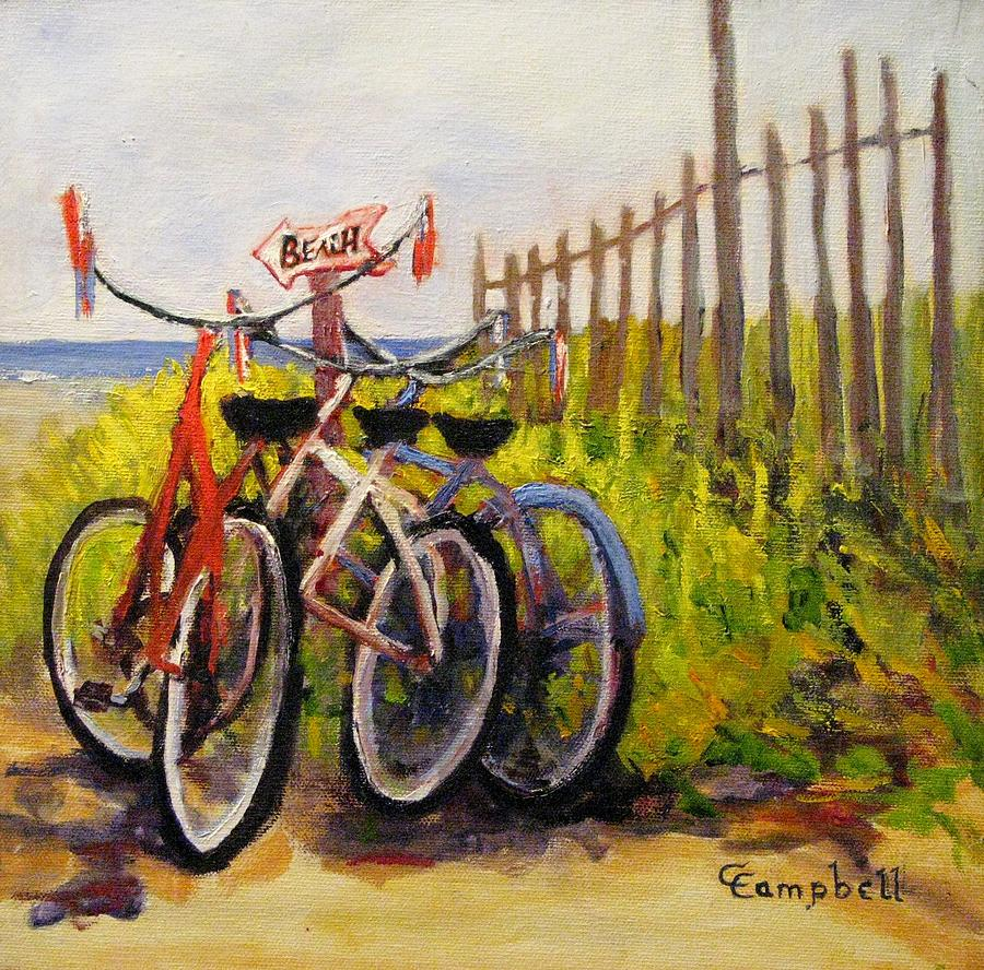Bikes Painting - Wishing you were here by Cecelia Campbell