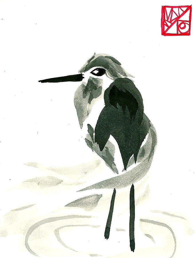 Wispy Heron Painting