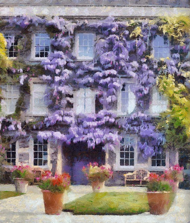 Wisteria Painting - Wisteria Covered House by Desmond De Jager