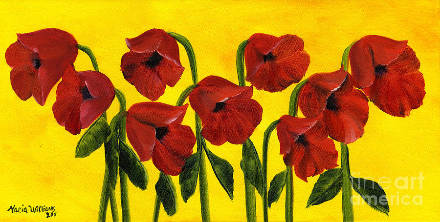 Wistful Poppies Painting by Maria Williams