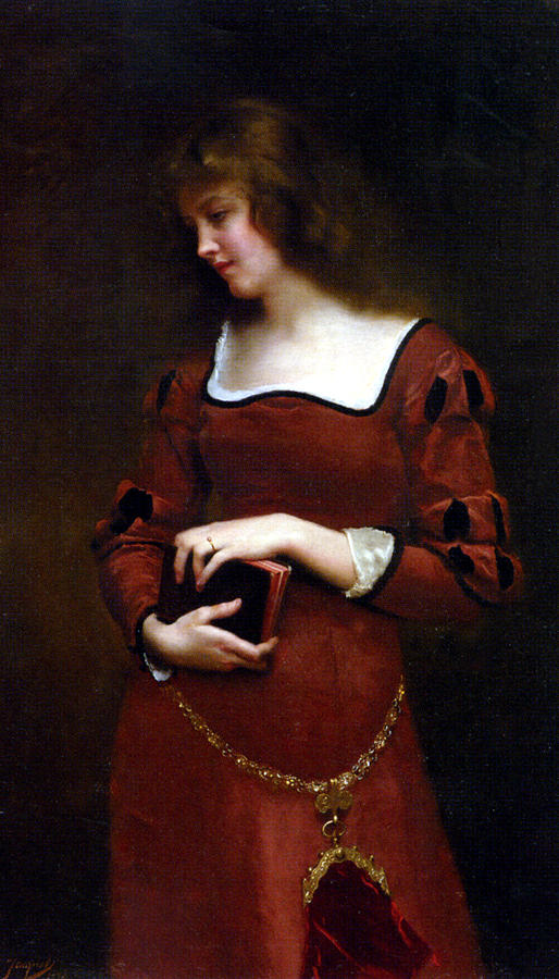 Red Dress Digital Art - Wistful Thoughts by Gustave Jean Jacquet