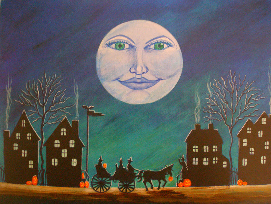 Witches Painting - Witch Moon by Christine Altmann