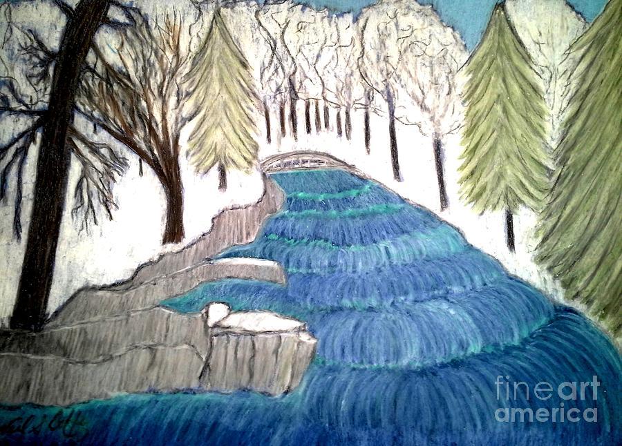 Witchata Falls Winter Pastel by Neil Stuart Coffey