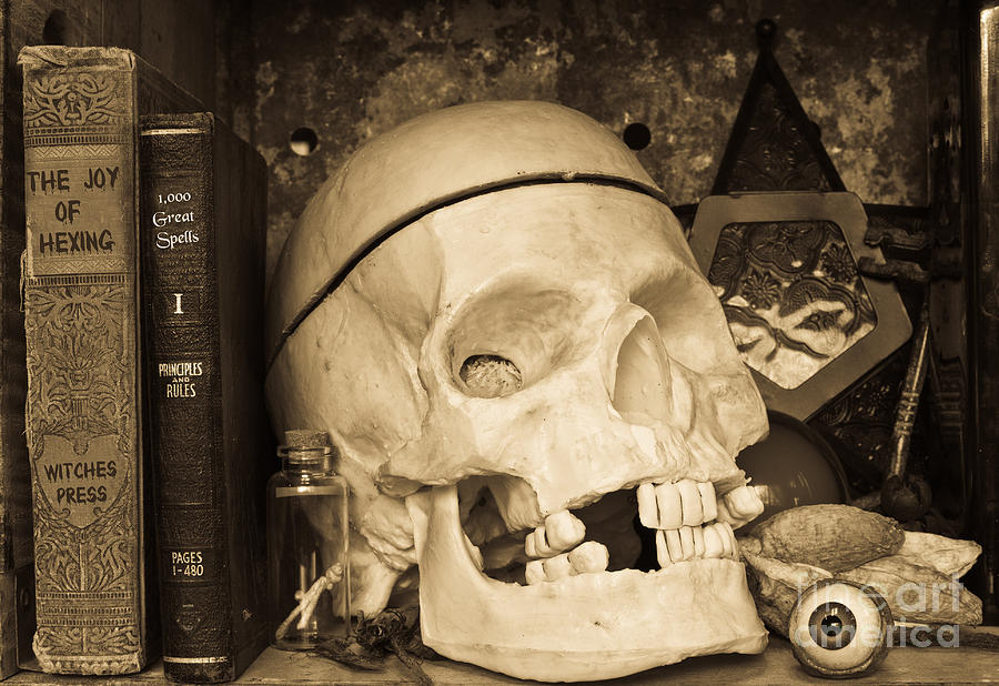 Witch Photograph - Witches Bookshelf by Edward Fielding