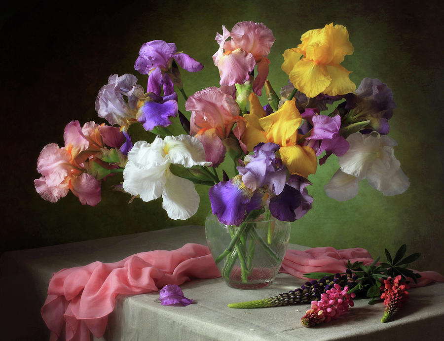 Still Life Photograph - With A Bouquet Of Irises And Flowers Lupine by ??????????? ??????????