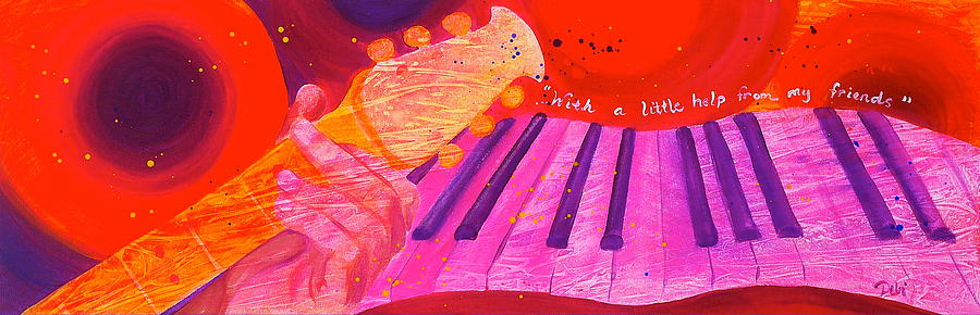Music Painting - With A Little Help by Debi Starr