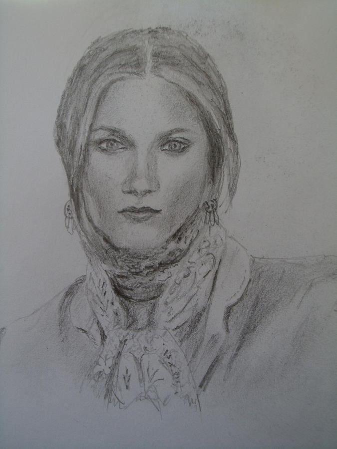 Portrait Drawing - With A Scarf by Nicolas Bouteneff