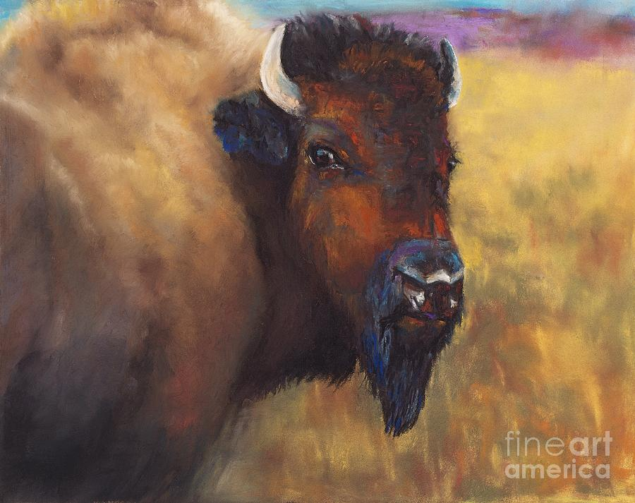 Bison Painting - With Age Comes Beauty by Frances Marino