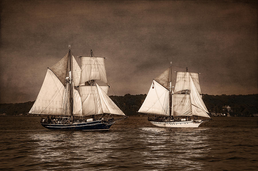 Tall Ships Photograph - With Full Sails by Dale Kincaid