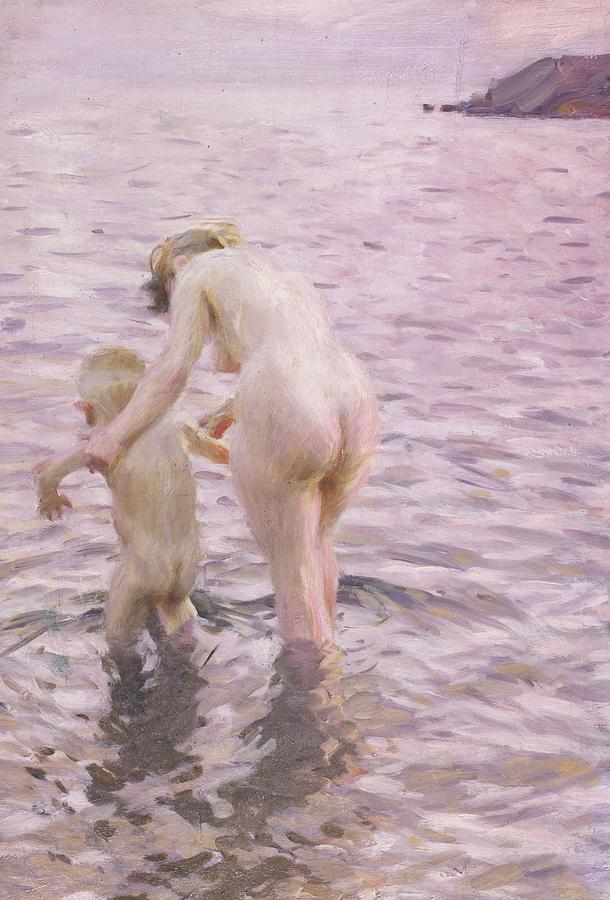 Mother; Child; Baby; Toddler; Female; Woman; Maternity; Maternal; Guiding; Leading; Nude; Naked; Seascape; Sea; Paddling Painting - With Mother by Anders Leonard Zorn