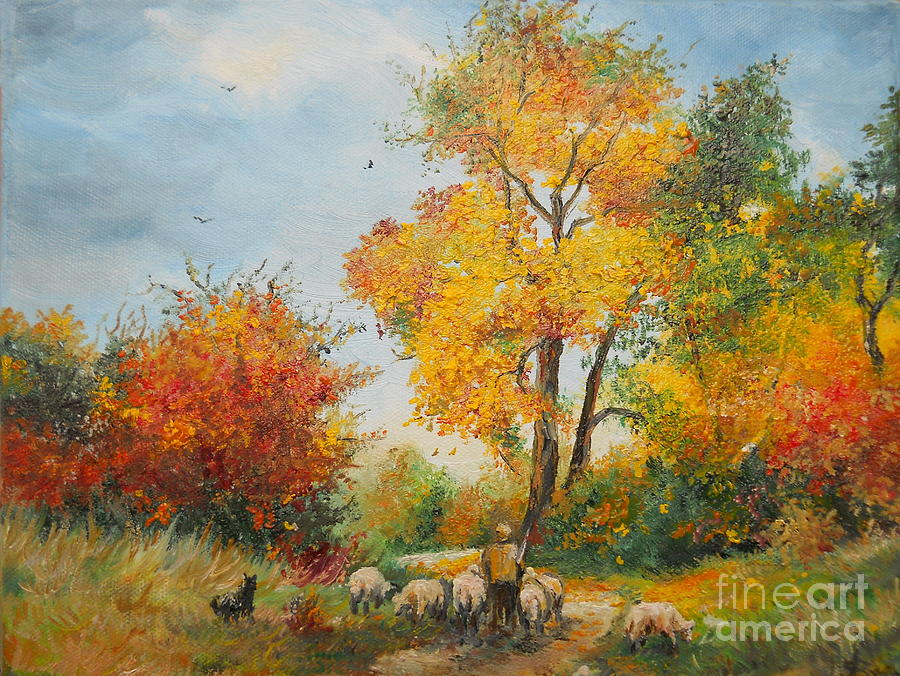 Autumn Painting - With Sheep On Pasture  by Sorin Apostolescu