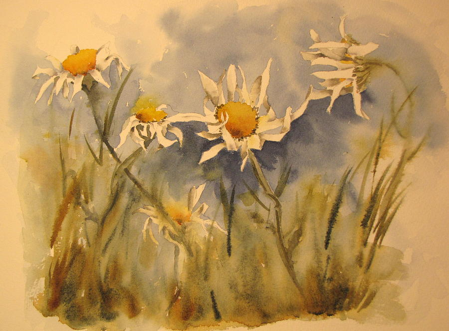 Daisy Painting - Withering Daisys by Ramona Kraemer-Dobson