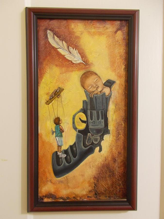 Gun Painting - Without Wings by Carlos Rodriguez Yorde