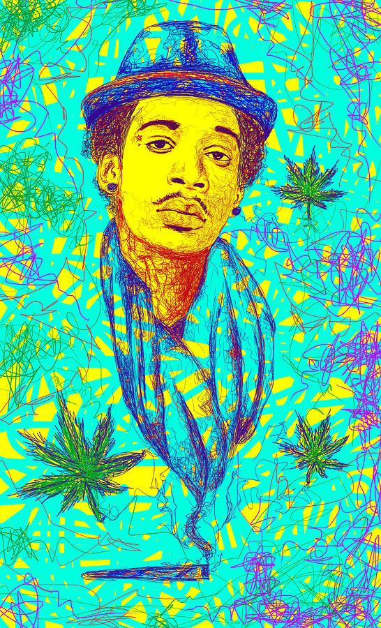 Wiz Khalifa Drawing Drawing - Wiz Khalifa Drawing In Line by Kenal Louis