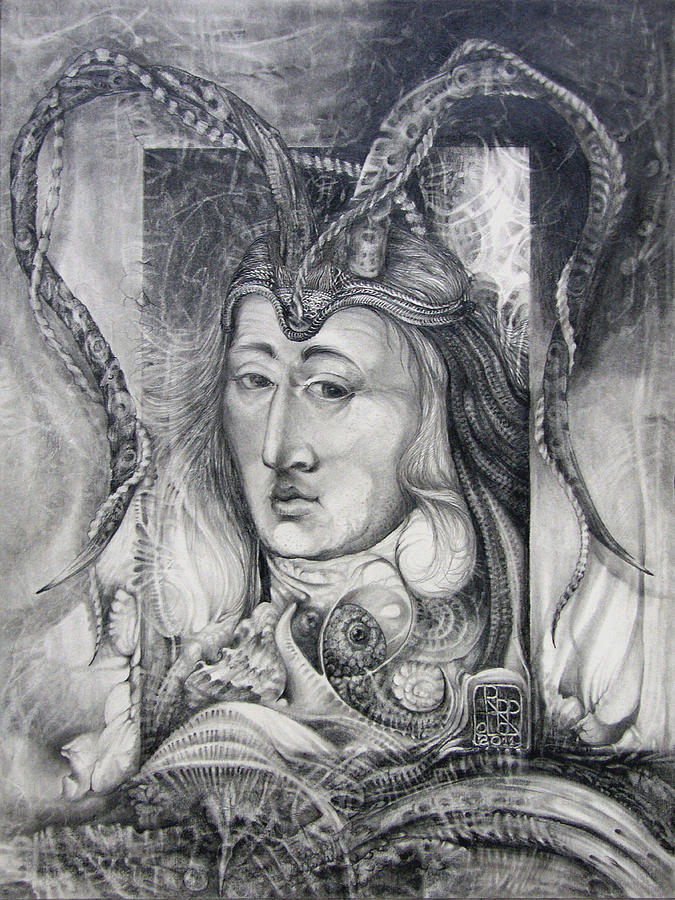 Wizard Drawing - Wizard Of Bogomils Island - The Fomorii Conjurer by Otto Rapp