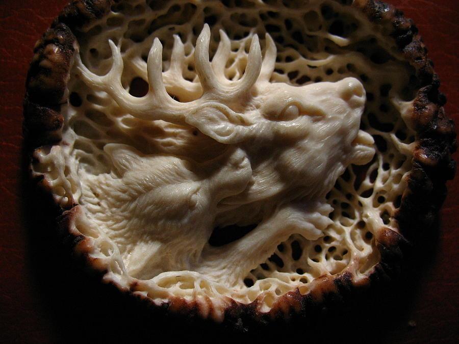 Carving Relief - Wolf And Deer - Antler Burr Belt Buckle by Dmitry Gorodetsky