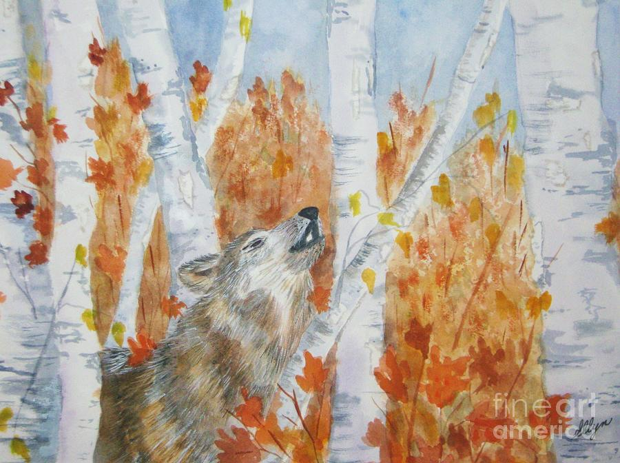 Wolf Painting - Wolf Call by Ellen Levinson