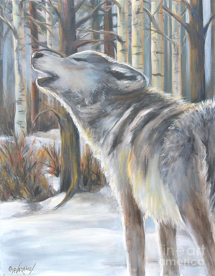 Wolf Painting - Wolf by Cher Devereaux