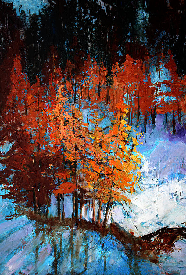Abstract Winter Landscape Painting - Wolf Country by Nancy Merkle