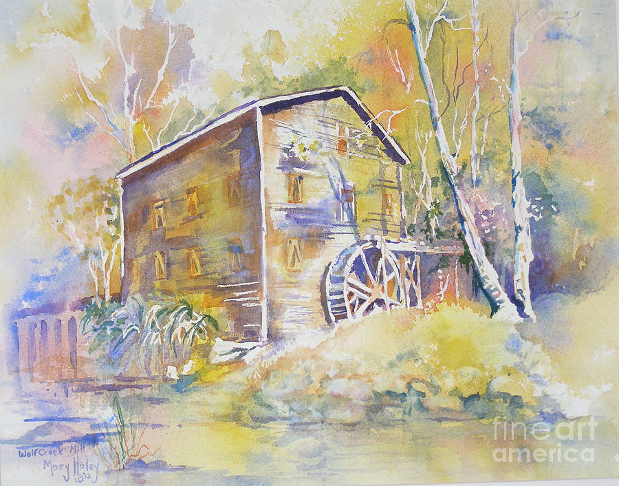Mill Painting - Wolf Creek Grist Mill by Mary Haley-Rocks