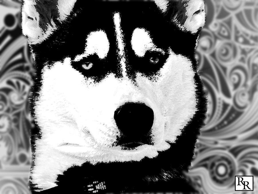 Wolf Dog Black White B W Painting By Robert R Splashy Art Abstract